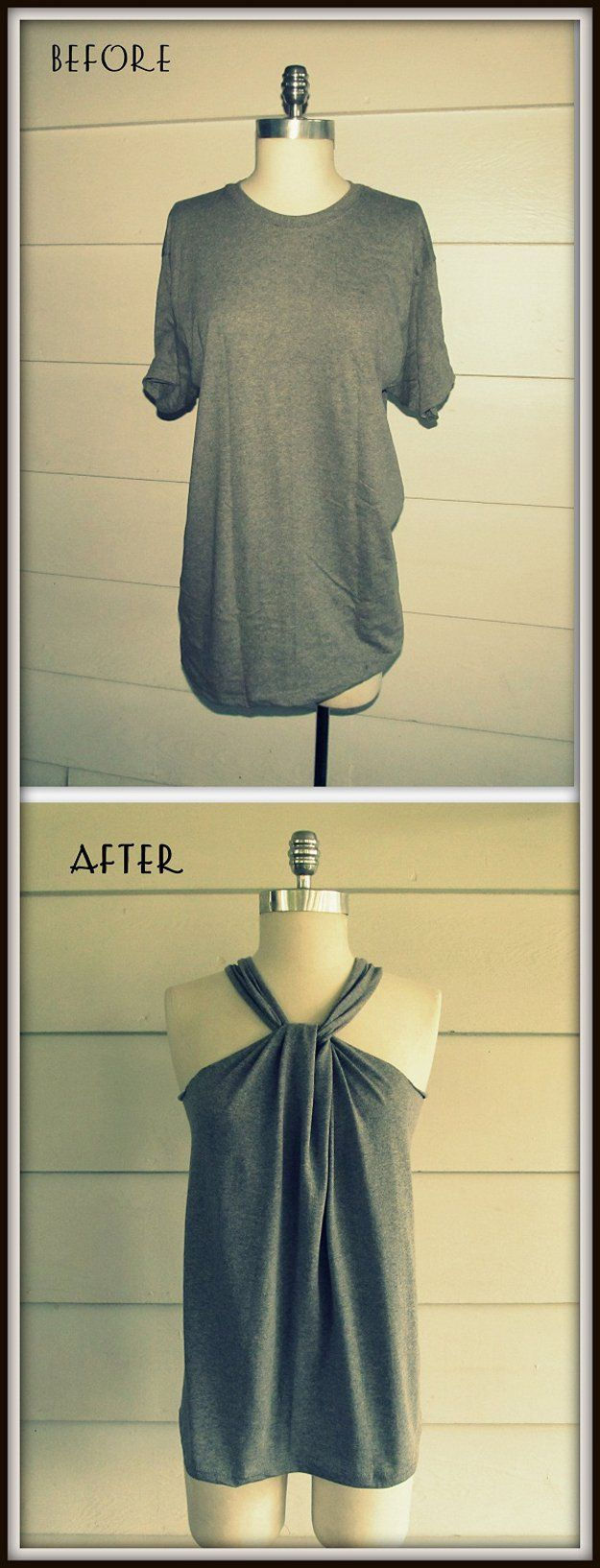 Fácil haltered DIY Top Design | artesaniasdebricolaje.ru/diy-clothes-sewing-blouses-tutorial/