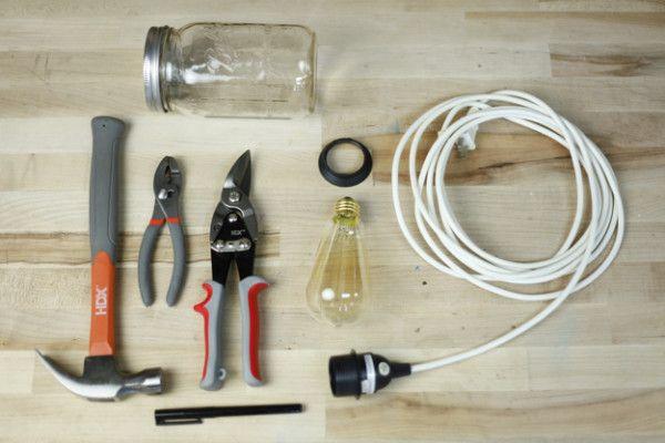 Mason Jar luz pendiente de la vendimia | Suministros