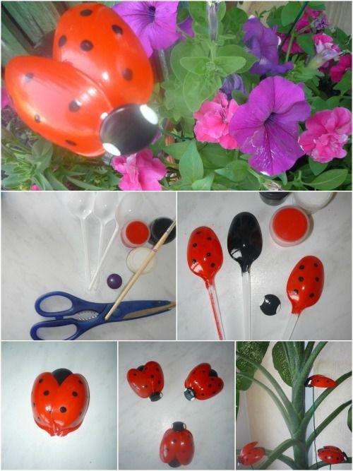 Rápida Reciclaje Craft: Mariquitas adorables hechos de cucharas de plástico ...