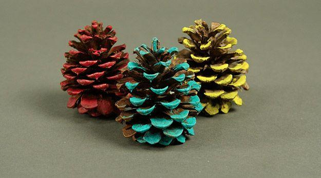 Pintadas de vivos colores conos de pino | Cómo tener una acción de gracias Tropical, échale un vistazo a http://artesaniasdebricolaje.ru/say-aloha-to-a-tropical-thanksgiving-dinner-video