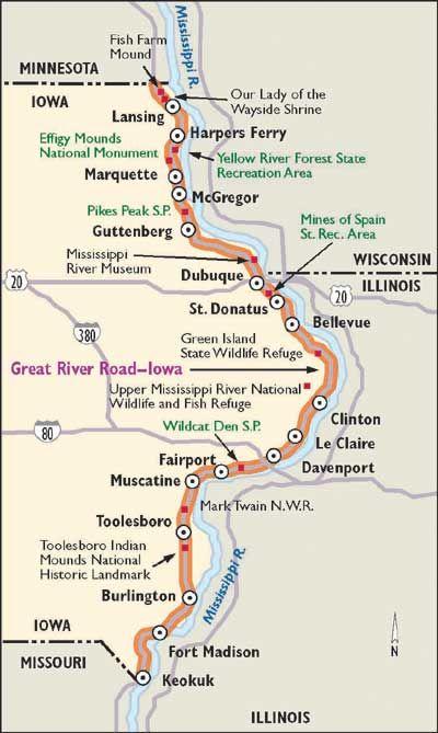 Scenic Drive en Iowa: Great River Road