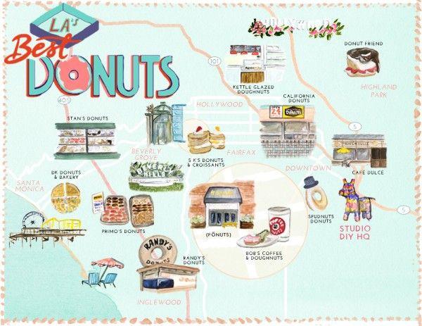 Mejores Donuts en Los Ángeles Mapa (Libre para imprimir!)