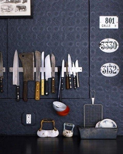 Utilice un estante magnética para almacenar utensilios de cocina - Top 58 más creativos Home-La organización de ideas y proyectos de bricolaje