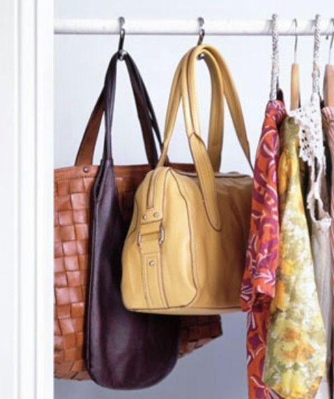 Colgar Bolsos ganchos de cortina Usando Ducha - Top 58 ideas más creativas Home-Organización y Proyectos de bricolaje