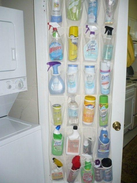 Reutilizar un organizador de zapatos de guardar las fuentes de limpieza - Top 58 ideas más creativas Home-Organización y Proyectos de bricolaje