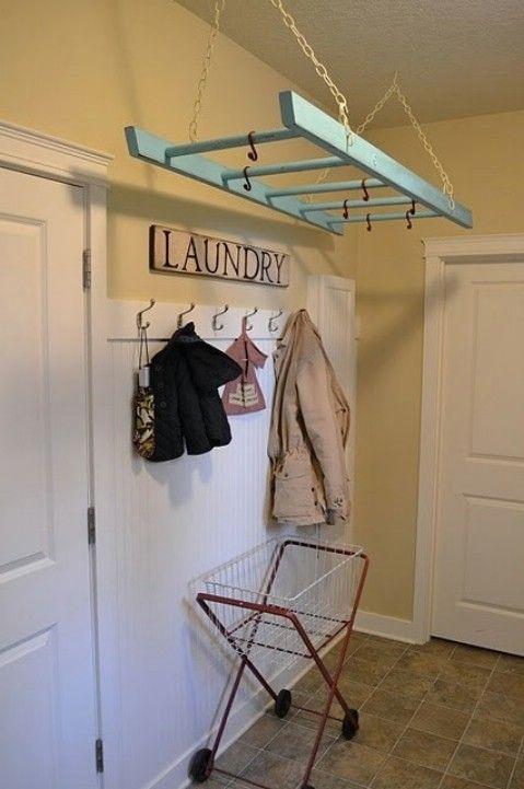 Colgar una escala por aire de secado de ropa - Top 58 más Ideas y Proyectos de bricolaje Inicio Creative-Organizar