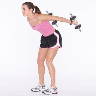 Mantener paralelo brazo superior al piso mediante la estabilización de la articulación del hombro, estire los brazos hacia atrás y apretar tríceps.