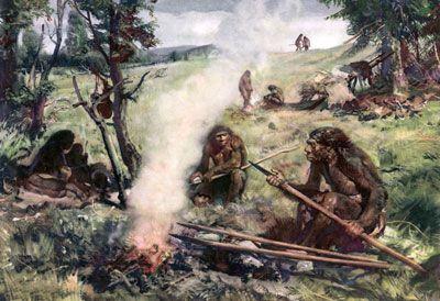 El pueblo de Neanderthal representados en esta ilustración habrían probablemente olía bastante madura.