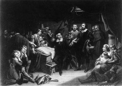 La lectura del Pacto del Mayflower.