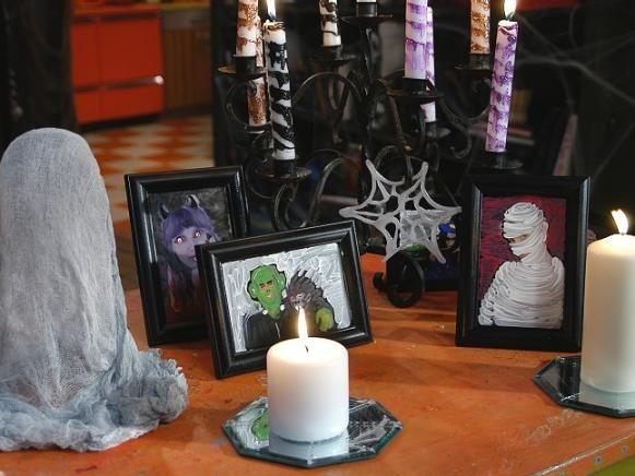 Fotos están pintadas encima en un tema de Halloween.